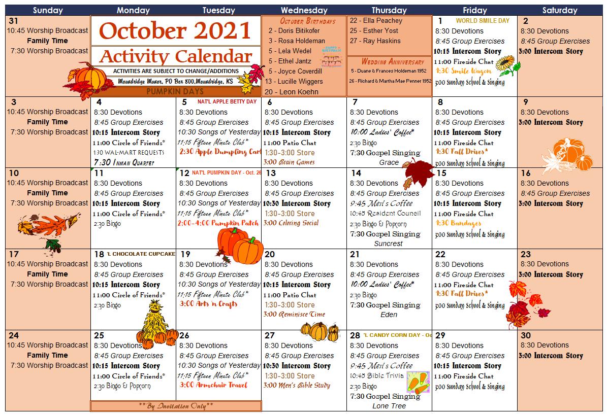 October Activity Calendar
